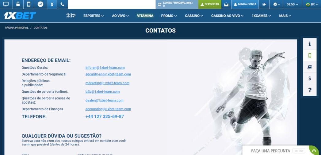 Página de contatos da 1xBet mostrada via PC