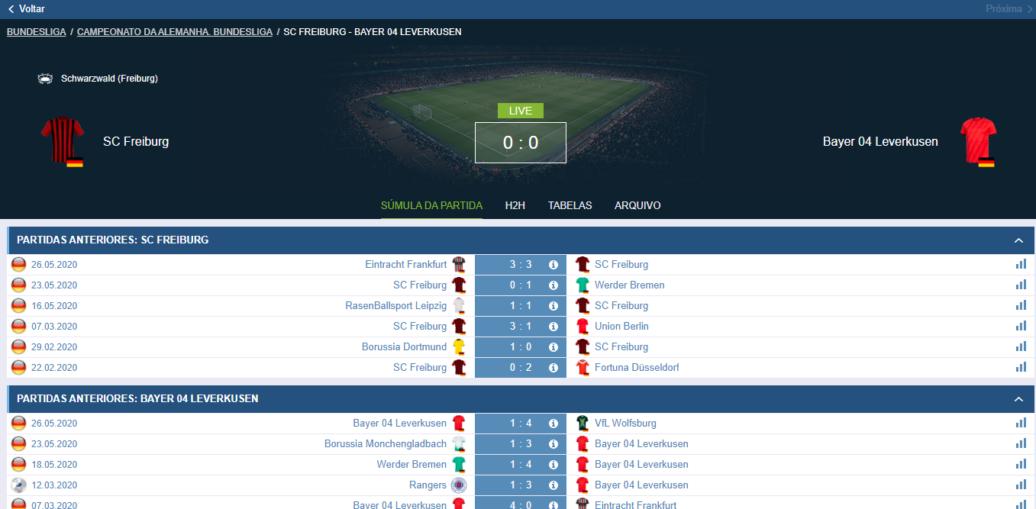 Placar e histórico de partidas do jogo Freiburg x Leverkusen mostrado na 1xBet via PC