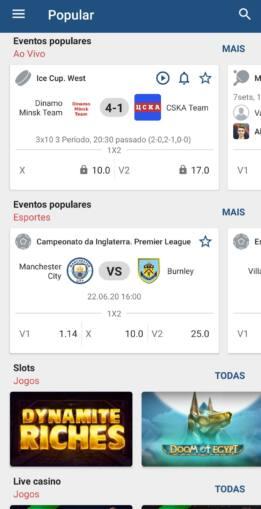 Tela do sportsbook da 1xBet mostrada via app mobile