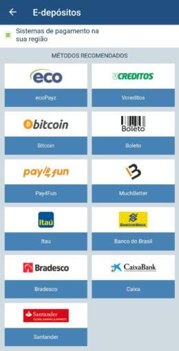 Tela de pagamentos da 1xBet mostrada via app mobile
