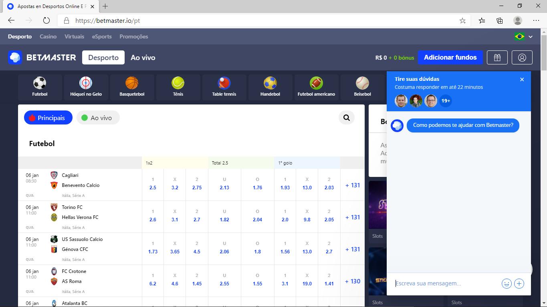 Print - tela de chat da BETMASTER